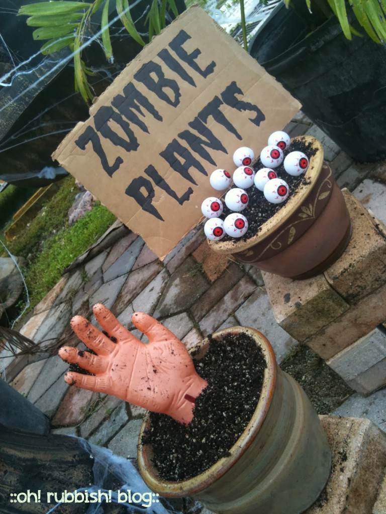 Diy zombie plants zombie halloween decorating ideas Diy halloween party decorations