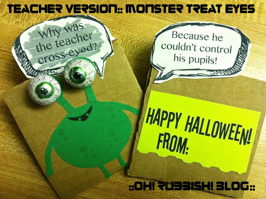 : Monster Treat Eyes :: Halloween Joke Gram :: Classroom Favors :: by oh! rubbish! blog