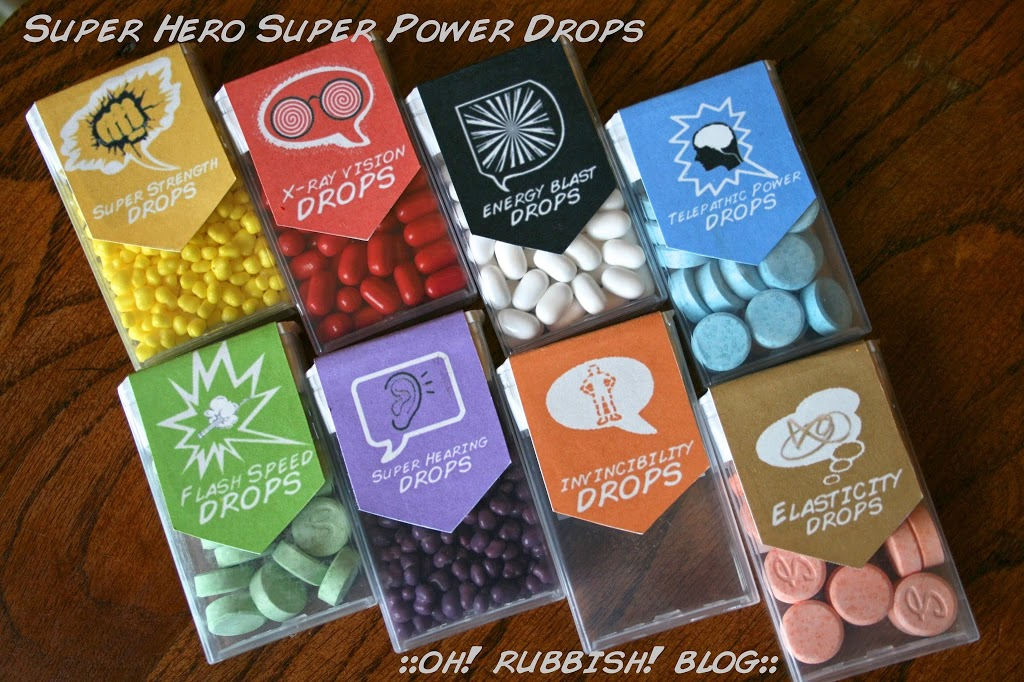 Upcycled Tic Tac Container Super Hero Super Power Drops