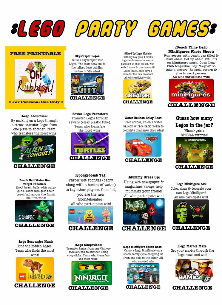 Lego Themed Birthday Party Games :: Free Lego Party Printables ...