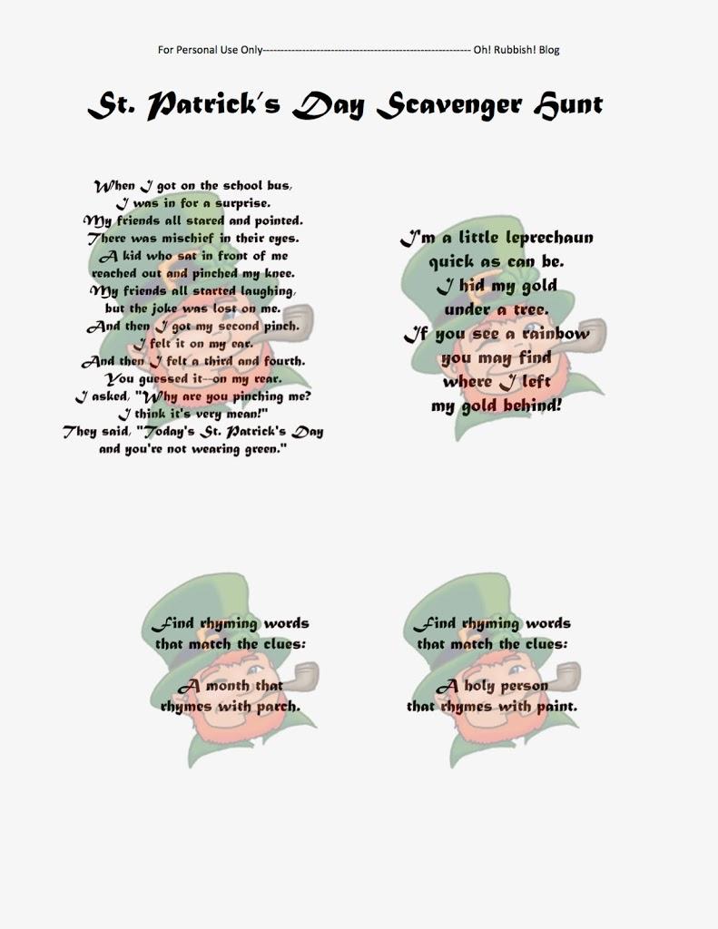 Uncategorized St Patricks Day Riddles st patricks day scavenger hunt printable patrick games kids