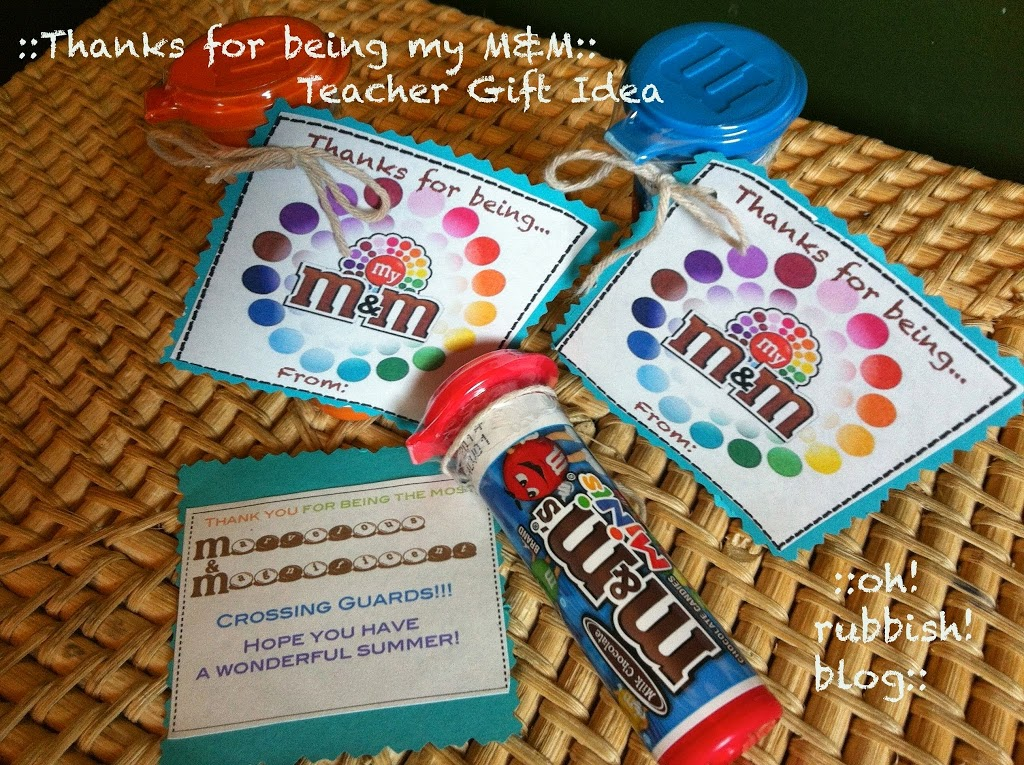 An example idea of Thanks for being my M&M teacher gift idea