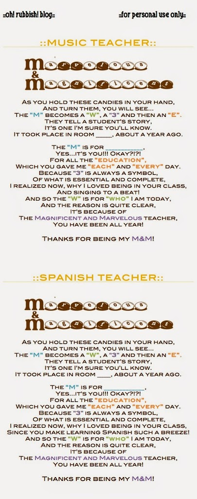 music teacher and spanish teacher poems