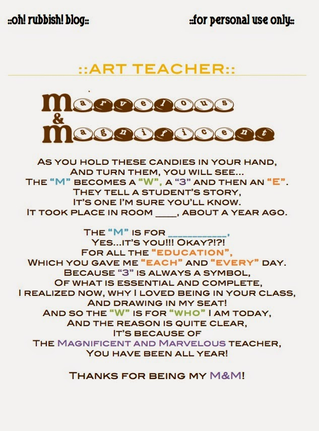 art teacher poem