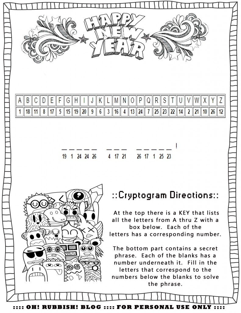 HAPPY NEW YEAR CRYPTOGRAM by oh! rubbish! blog