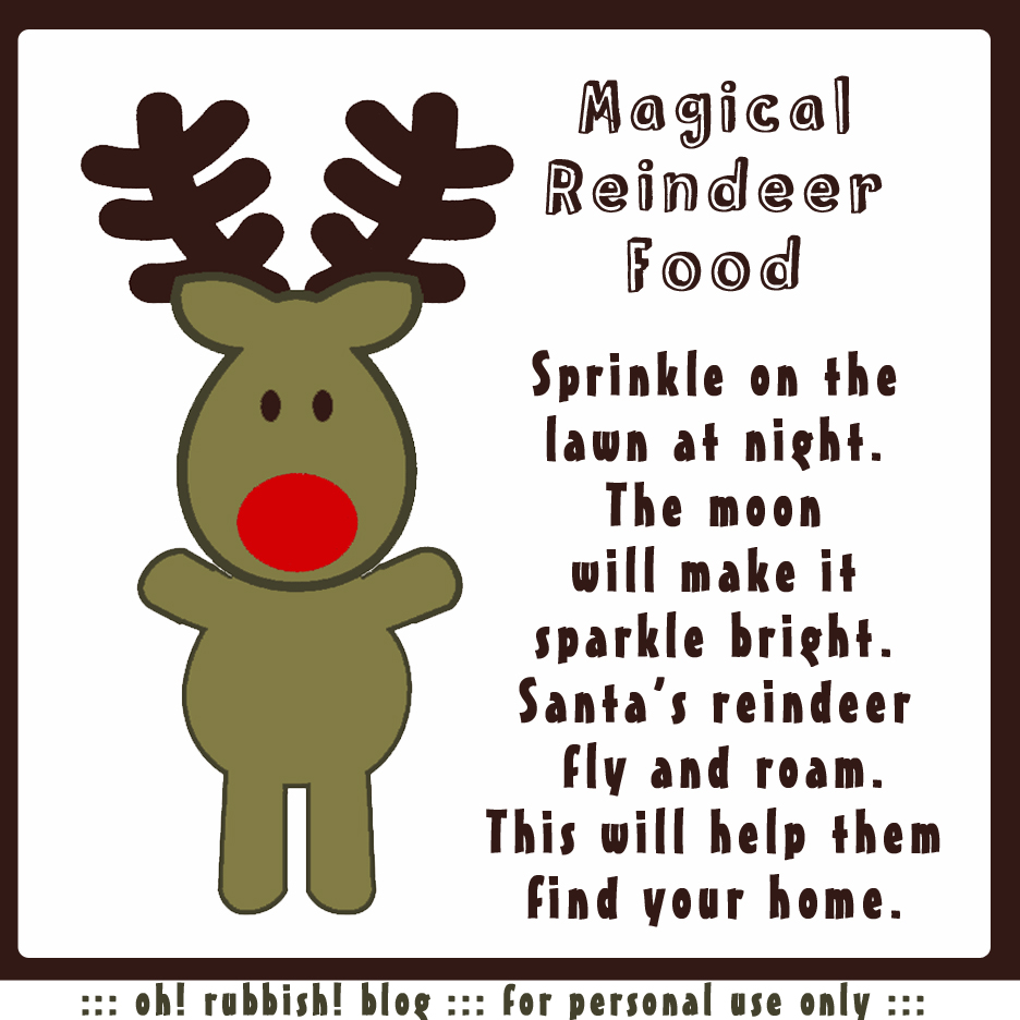 Magical Reindeer Food square printable
