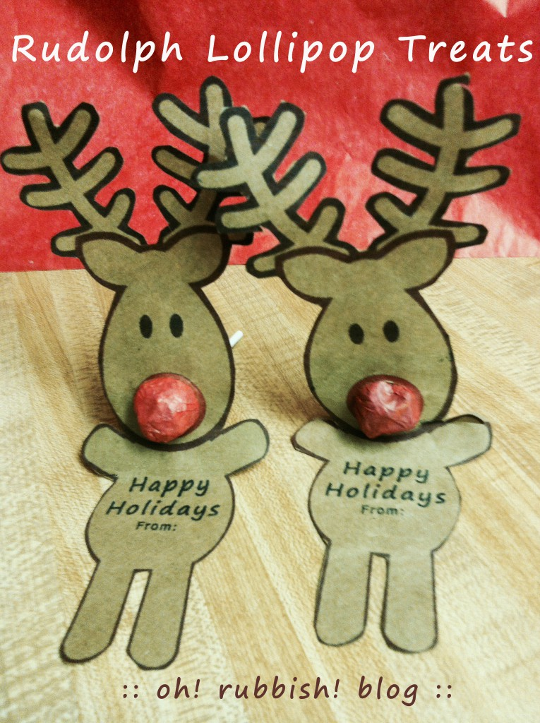 Rudolph Reindeer Lollipops  by Oh! Rubbish! Blog