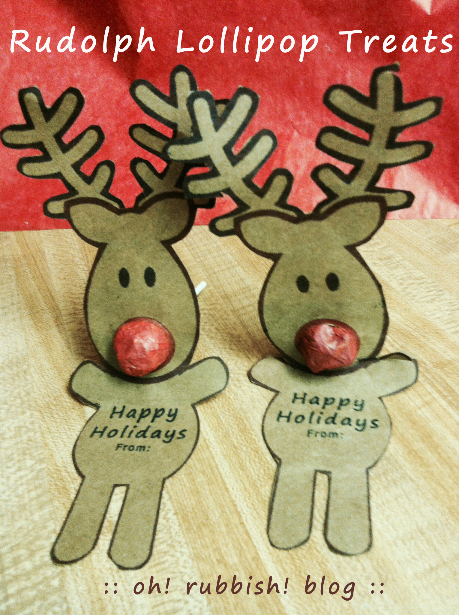 Classroom Birthday Party Favors ~ Rudolph lollipop best homemade kids christmas party