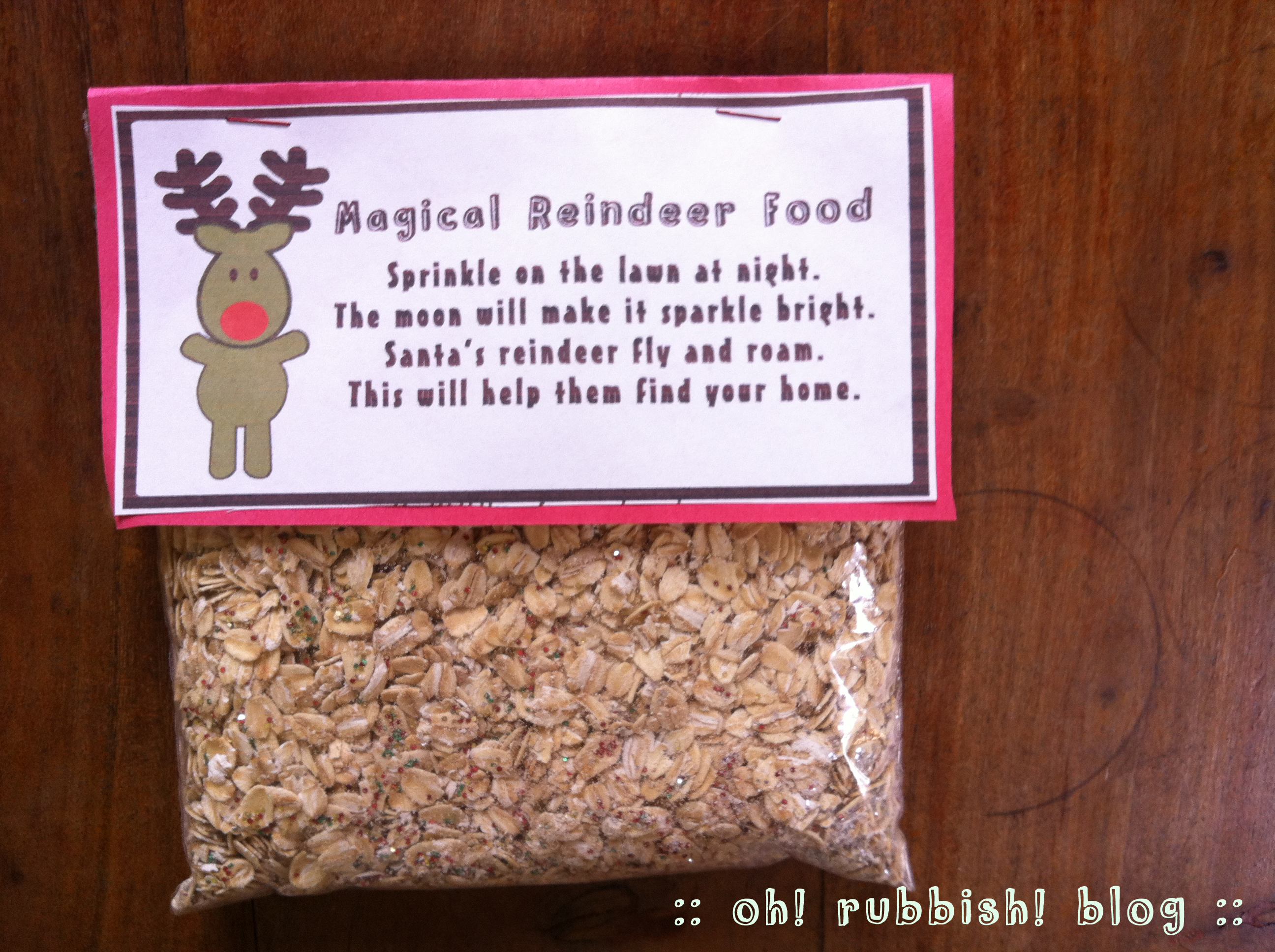 Printable Magic Reindeer Food Poem :: Magic Reindeer Food Printable