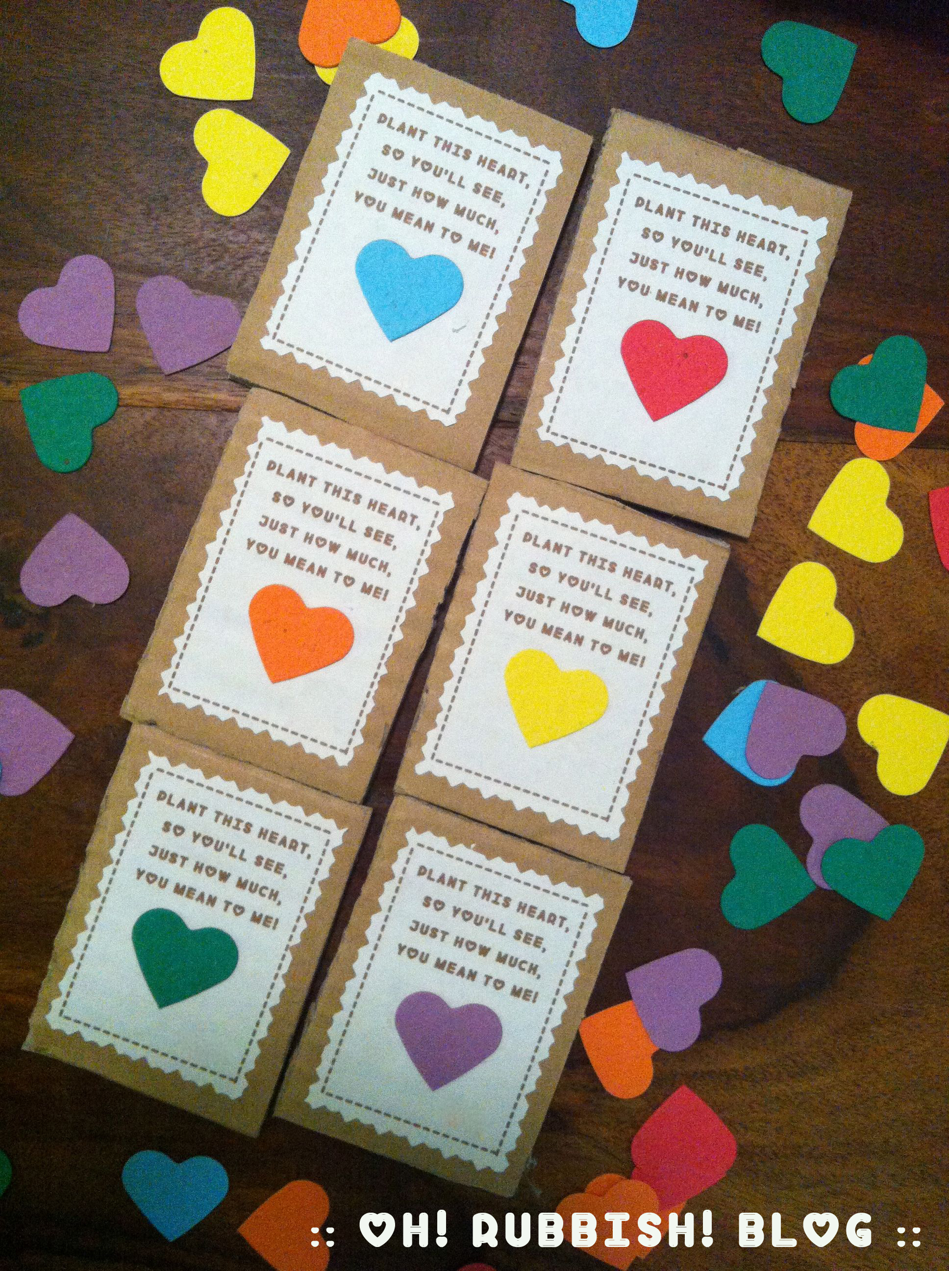 Plantable Seed Paper Heart Valentine Class Favors