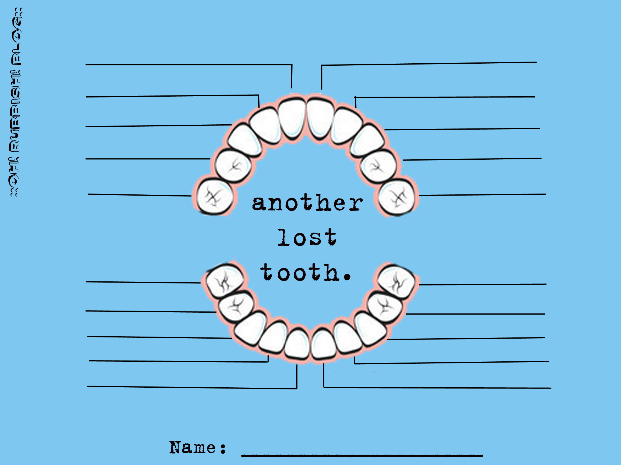 Another Lost Tooth! Tooth Fairy Tooth Chart :: Free Printable Tooth ...