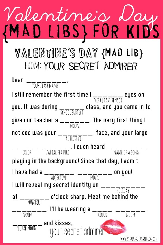 25 Fun Valentine's Day Games Activities For Kids Valentines. Valentines Day Mad Lib. Worksheet. Valentine S Day Secret Code Worksheet At Clickcart.co
