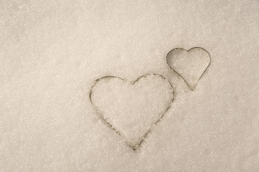colored snow hearts
