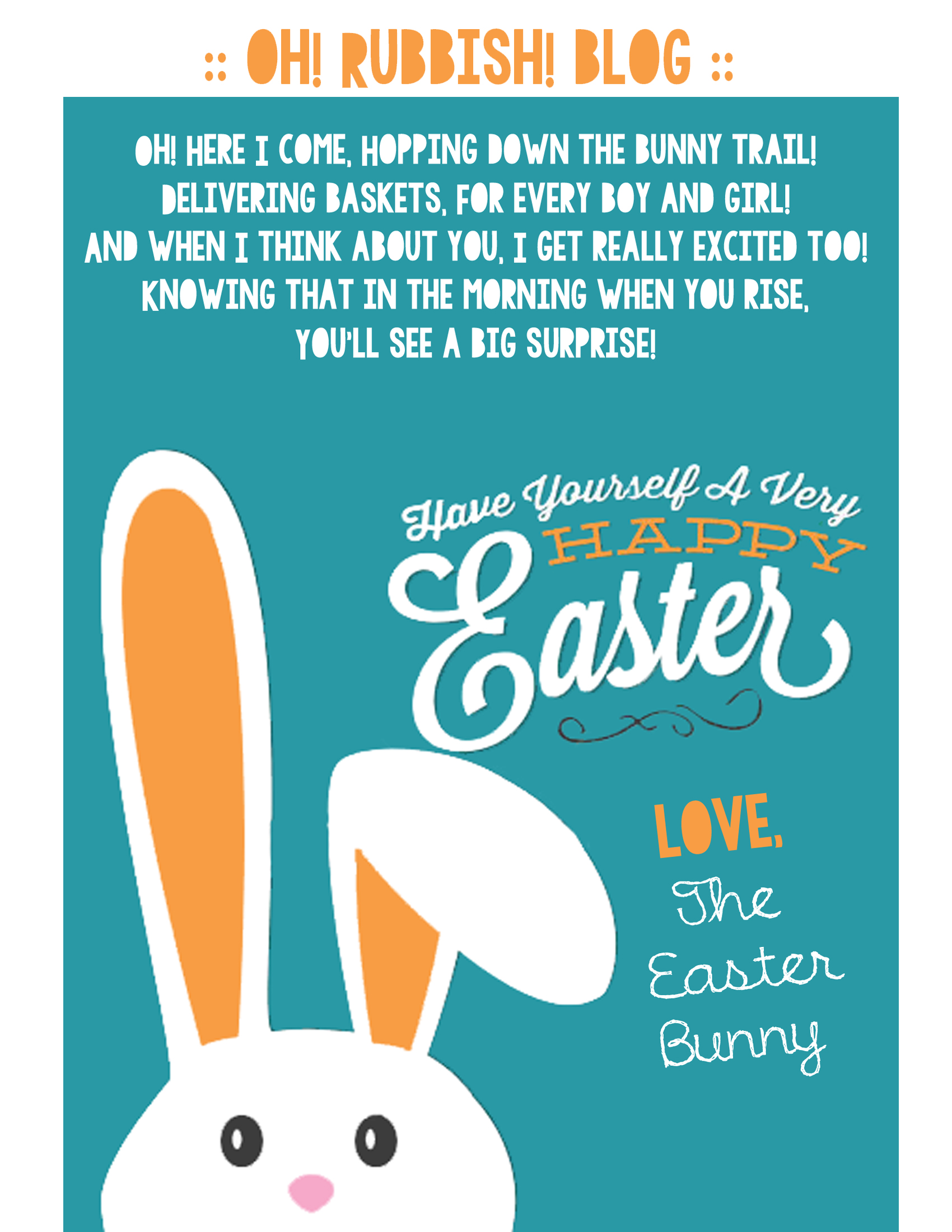Geeky image within letter from the easter bunny printable