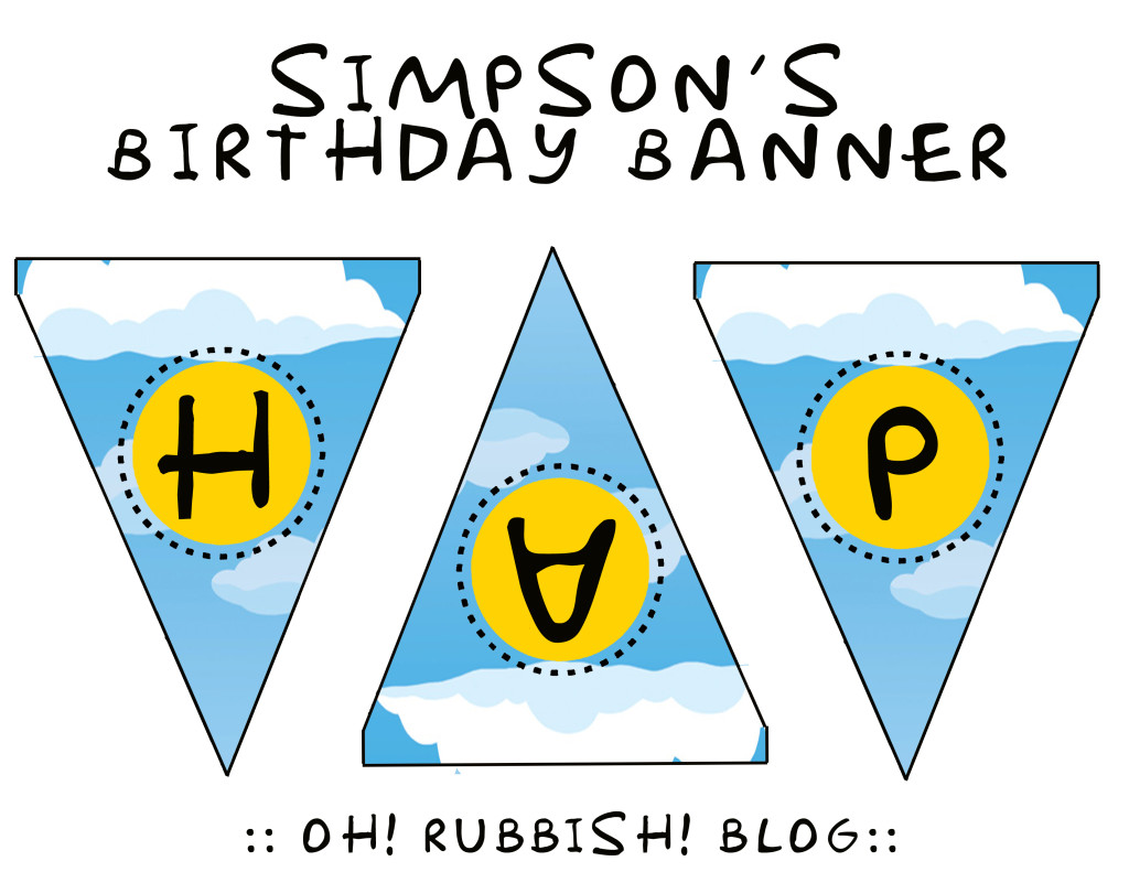 Simpson's Birthday Banner Printable by oh! rubbish! blog