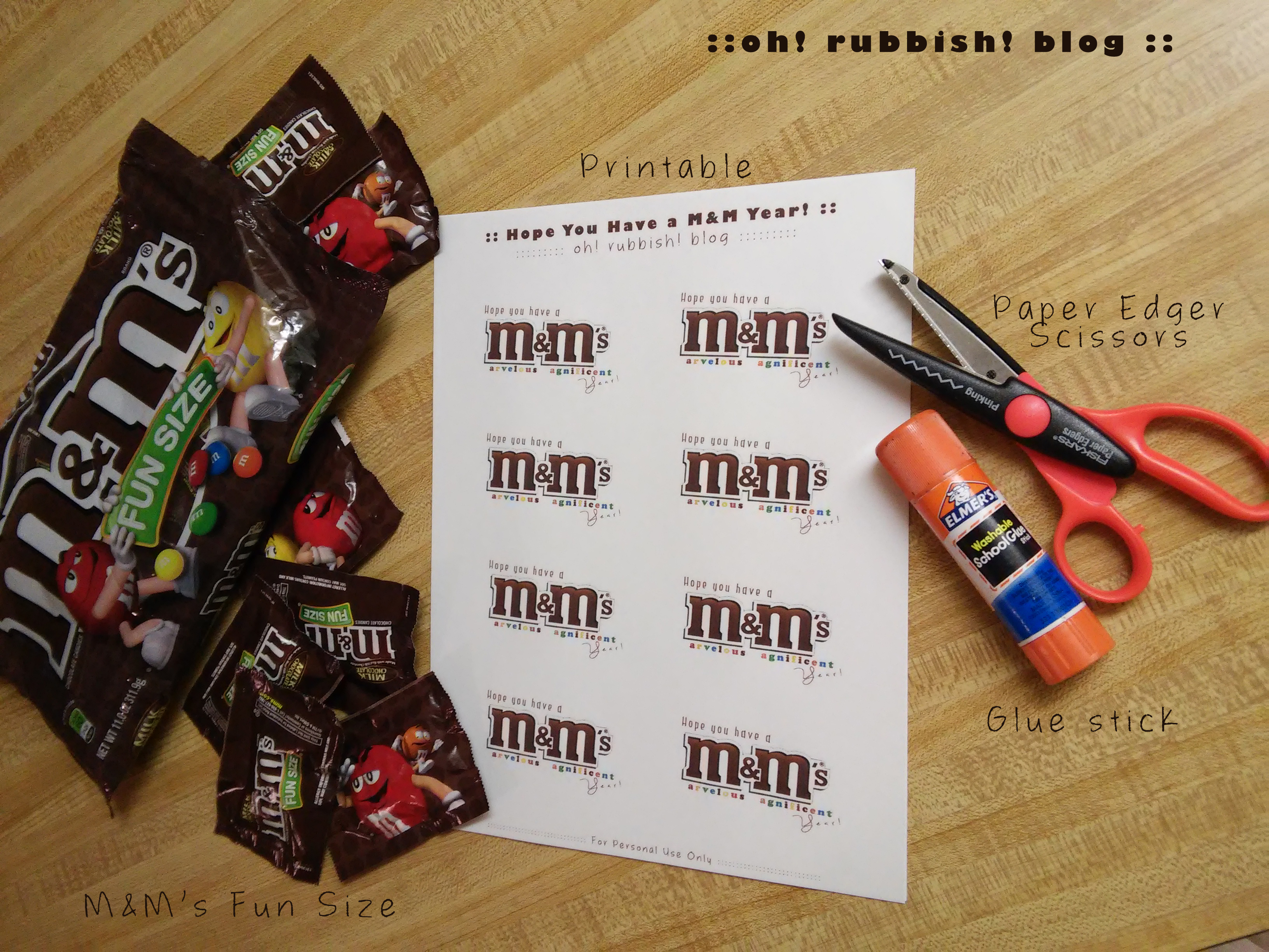 Hope You Have an M&M Year! First Day of School Classroom Favor Treats by: OH RUBBISH BLOG