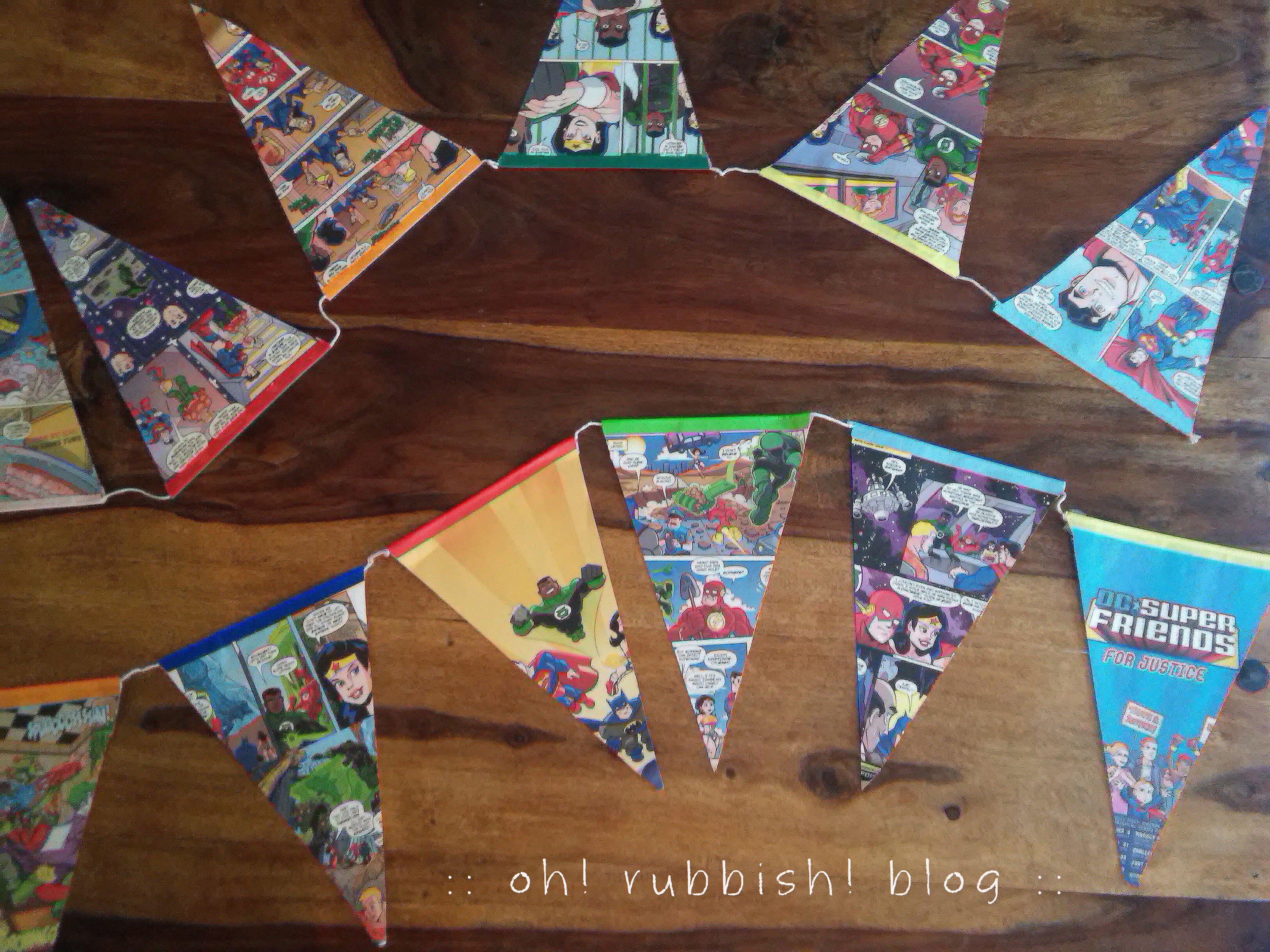 DC Super Friends Upcycled Comic Book Bunting Banner by oh rubbish blog