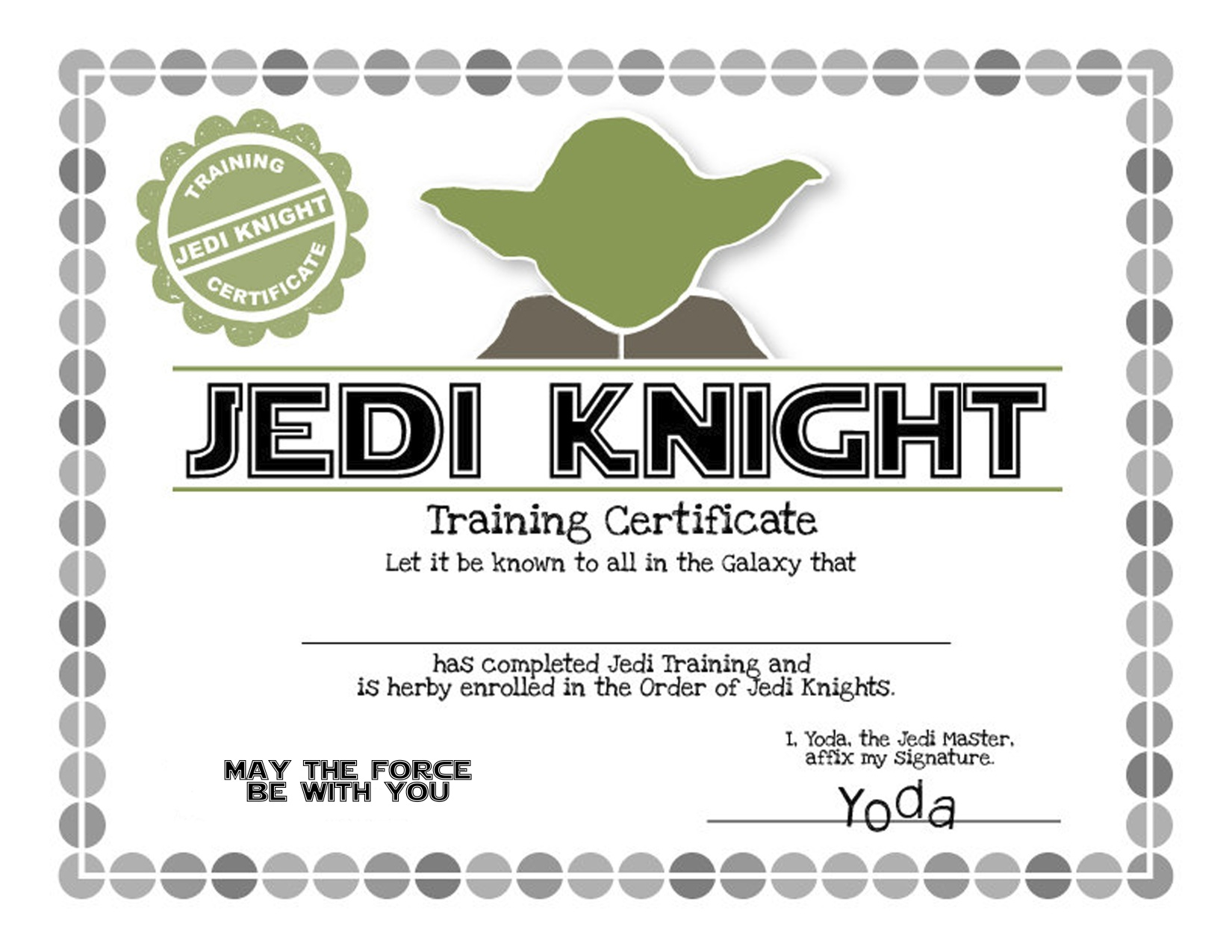 Yoda Jedi Knight Certificate Star Wars Birthday Party Ideas