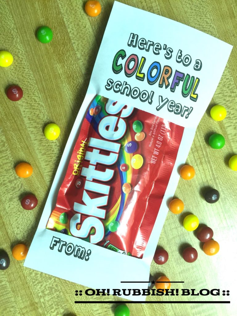 """Here's to a COLORFUL school year!"" Back to School Favors by: oh! rubbish! blog"