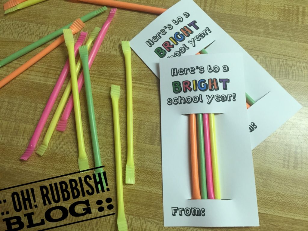 Here's to a BRIGHT School Year :: First Day of School Treat Favors :: Candy Powdered Sticks & Printable :: oh! rubbish! blog ::