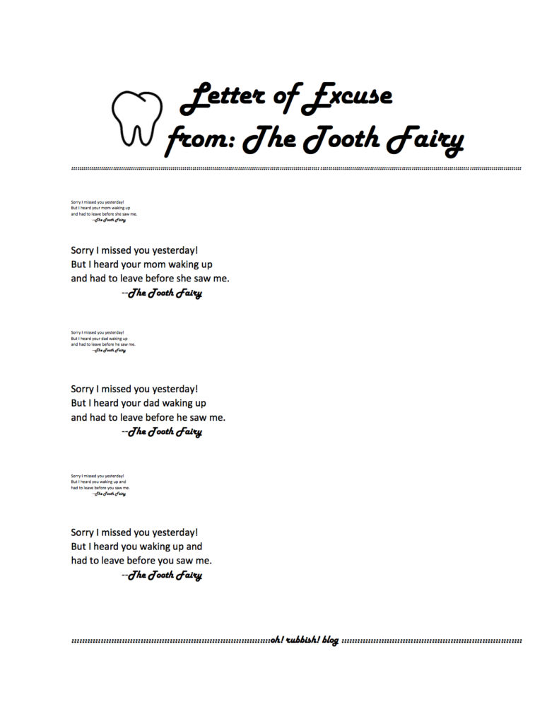 The Tooth Fairy Excuse Letter