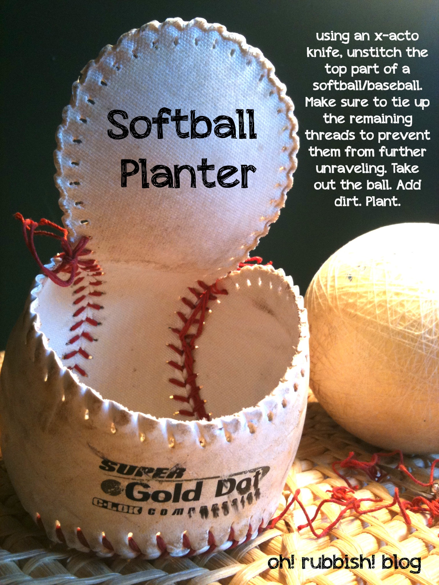 softball craft ideas softball planter recycled garden projects 2968